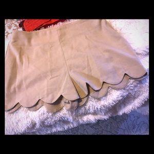 Tan Scalloped Shorts